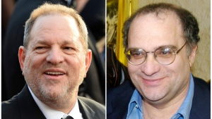 This combination photo shows Harvey Weinstein arrives at the Oscars in Los Angeles on Feb. 28, 2016, left, and his brother Bob Weinstein at the premiere of 'Sin City,' in Los Angeles on March 28, 2005. (AP Photo / File)