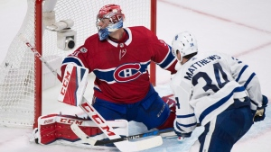 Toronto Maple Leafs' Auston Matthews scores on Montreal Canadiens goalie Carey Price during overtime NHL hockey action in Montreal, Saturday, October 14, 2017. (THE CANADIAN PRESS / Graham Hughes)