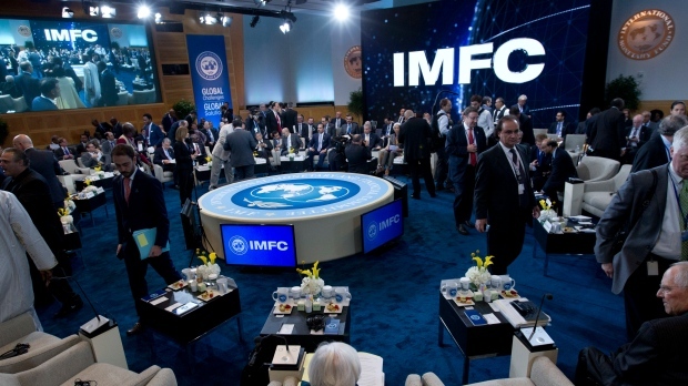 International Monetary and Financial Committee (IMFC) conference at World Bank/IMF Annual Meetings in Washington, Saturday, Oct. 14, 2017. ( AP Photo/Jose Luis Magana)