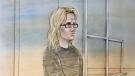 Erin Wright, 28, is shown in a courthouse sketch. (John Mantha)