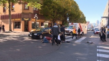 VicPD says a woman on a skateboard was travelling fairly quickly when she was struck in downtown Victoria Sunday, Oct. 15, 2017 (CTV Vancouver Island)