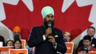 NDP Leader Jagmeet Singh addresses supporters as he kicks off his first cross-country tour at a rally in Ottawa, Sunday Oct. 15, 2017. (THE CANADIAN PRESS/Fred Chartrand)