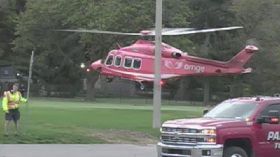 An Ornge air ambulance lands at Niagara Falls Sunday October 15, 2017.