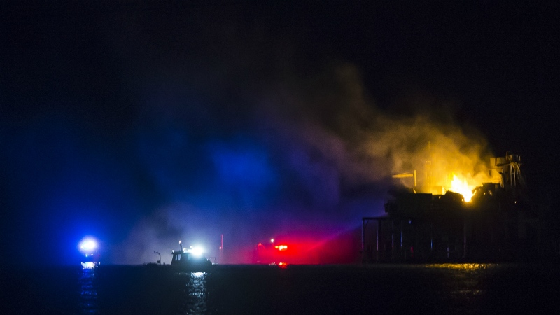 Oil rig explodes in Louisiana lake, causing injuries