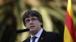 Catalan regional President Carles Puigdemont at the Montjuic Cemetery in Barcelona, Spain, on Oct. 15, 2017. (AP / Manu Fernandez)