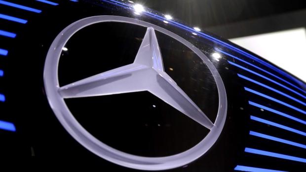 Mercedes logo photographed in Stuttgart, Germany