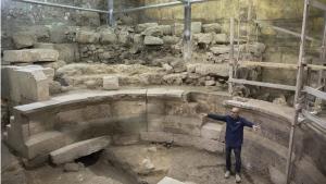 Israel's Antiquities Authority's Joe Uziel in an ancient Roman theatre-like structure in the Western Wall tunnels in Jerusalem's old city, on Oct. 16, 2017. (Sebastian Scheiner / AP)