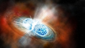 Artist's concept of the explosive collision of two neutron stars. (Illustration by Robin Dienel courtesy of the Carnegie Institution for Science)