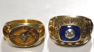 Peel Police say that they have recovered two personalized Blue Jays rings, shown here in an undated police handout image, which were stolen from the home of a former Jays executive in 1994. THE CANADIAN PRESS/HO-Peel Police Service
