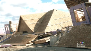 New homes collapse during heavy winds