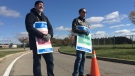 Striking instructors picket outside Conestoga College in Kitchener on Monday, Oct. 16, 2017. (Dan Lauckner / CTV Kitchener)