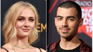 This combination photo shows Sophie Turner at the 68th Primetime Emmy Awards in Los Angeles on Sept. 18, 2016, left, and musician Joe Jonas at the iHeartRadio Music Awards in Inglewood, Calif., on March 5, 2017. (Photo by Jordan Strauss/Invision/AP, File)