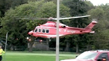 ORNGE Air Ambulance arrives in Niagara Falls where a boy fell more than 25 metres from a railing.