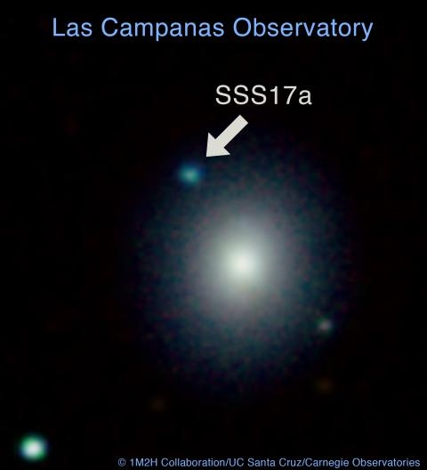 An image of Swope Supernova Survey 2017a (or SSS17a) from the night of discovery. On August 17, a team of four Carnegie astronomers provided the first-ever glimpse of two neutron stars colliding, opening the door to a new era of astronomy.  (Image is courtesy of Tony Piro.)
