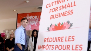 Finance Minister Bill Morneau looks on during a press conference in Stouffville, Ont., on Monday, Oct. 16, 2017. (THE CANADIAN PRESS/Nathan Denette)