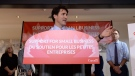 Prime Minister Justin Trudeau speaks to members of the media as Finance Minister Bill Morneau looks on at a press conference on tax reforms in Stouffville, Ont., on Monday, Oct. 16, 2017. (THE CANADIAN PRESS/Nathan Denette)