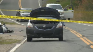 Police are investigating a two-vehicle collision that led to a pedestrian being struck on Nova Scotia's Highway 329.