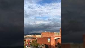 A break in the clouds allows some sun to shine on Victoria this morning, ahead of heavy rains. Oct. 16, 2017. (CTV Vancouver Island/Astrid Braunschmidt)