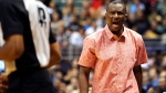 FILE - In this Tuesday, Oct. 3, 2017, file photo, Toronto Raptors head coach Dwane Casey reacts to a referee's call during the third quarter of a preseason NBA basketball game against the Los Angeles Clippers in Honolulu. (AP Photo/Marco Garcia, File)