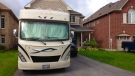 This RV can be seen parked in a Barrie, Ont. driveway on Monday, Oct. 16, 2017. (K.C. Colby/ CTV Barrie)