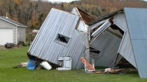 Aftermath of an EF-0 tornado that touched down in a localized area of Mont-Laurier, about 200 km north of Ottawa, on Sunday, Oct. 15, 2017.