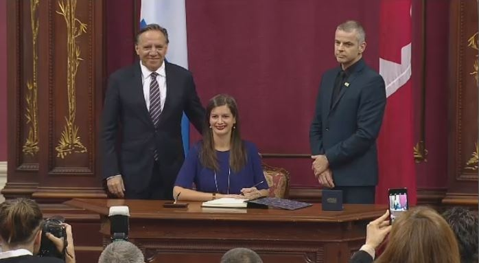CAQ MNA Genevieve Guilbault is sworn in at the National Assembly.