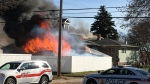 Fire destroyed a garage in Moose Jaw on Oct. 16. (JAMES JOHNSON)