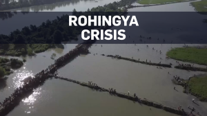 Drone footage: Thousands flee Myanmar