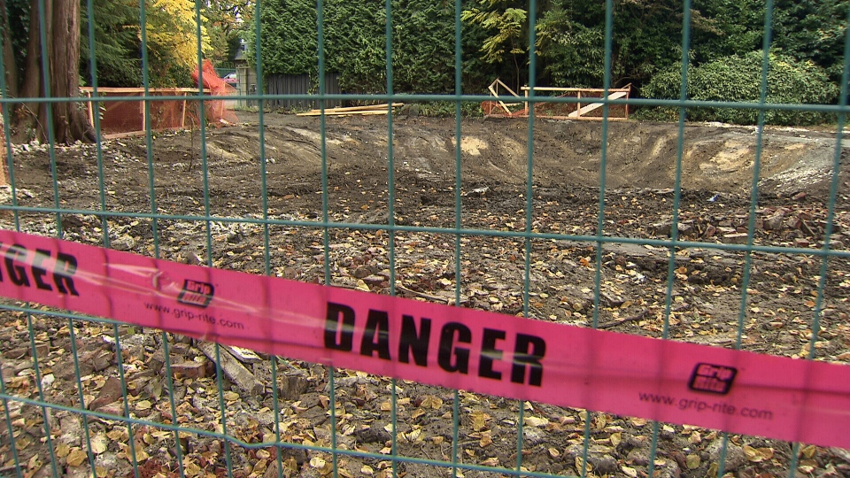 A pit is seen where Vancouver's 'Electric House' once stood.