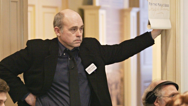 Actor John Dunsworth listens to a speaker at a news conference in Halifax on April 12, 2005.  (Andrew Vaughan / THE CANADIAN PRESS)