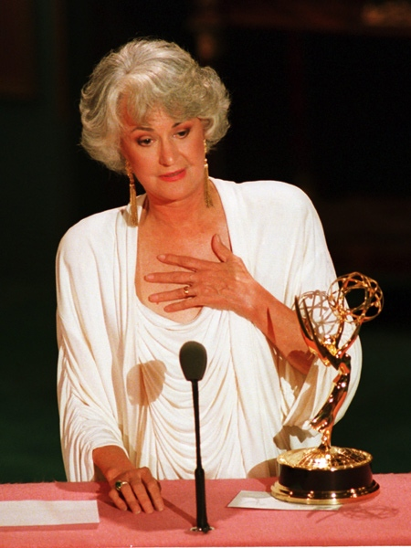 Actress Beatrice Arthur accepts her Emmy award at the 40th annual Emmy Awards ceremony in Pasadena, Ca., on Aug. 29, 1988. (AP Photo / Reed Saxon)