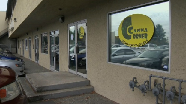 A man claiming to be the co-owner of Canna Corner said the business won't be sticking around after complaints from a neighbouring martial arts studio. Oct. 16, 2017. (CTV Vancouver Island)