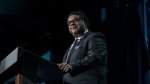Calgary Mayor Naheed Nenshi speaks after receiving an award from Prime Minister Justin Trudeau during the Public Policy Testimonial Dinner in Toronto on April 20, 2017. (Christopher Katsarov / THE CANADIAN PRESS)