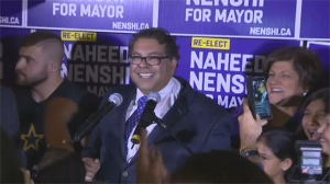 Naheed Nenshi celebrates his win with supporters in Calgary after being reelected to his third term as Mayor.