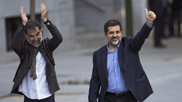 Jordi Cuixart, left, and Jordi Sanchez, in Madrid, Spain, on Oct. 16, 2017. (Francisco Seco / AP)