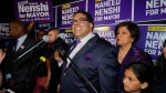 Naheed Nenshi celebrates his victory as Calgary's mayor following municipal elections in Calgary, early Tuesday, Oct. 17, 2017. (Jeff McIntosh / THE CANADIAN PRESS)