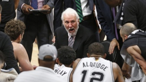San Antonio Spurs head coach Gregg Popovich on May 20, 2017. (Ronald Cortes / AP)
