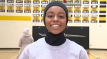 Dakota Collegiate found a website where it could place orders to buy sporty custom-made hijabs. Nusaybah's new Lancer hijab arrived last week. She wore it on the basketball court Monday.(CTV Winnipeg/Sarah Plowman)