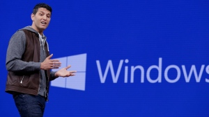 In this Thursday, May 11, 2017, file photo, Terry Myerson, executive vice president of the Windows and Devices Group, speaks at the Microsoft Build 2017 developers conference, in Seattle. (AP Photo/Elaine Thompson, File)