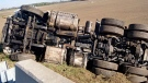 This tractor trailer rolloved over on Highway 401 near Dillon Road in Chatham-Kent, Oct. 17, 2017. (Chatham-Kent OPP)