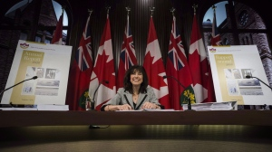 "Ontario Auditor general Bonnie Lysyk answers questions about her 2016 annual report at Queen's Park in Toronto on November 30, 2016. Ontario's auditor general is set to report today on the Liberal government's 25 per cent cuts to hydro bills, which came after increasing anger over rising prices. It's safe to say auditor general Bonnie Lysyk's report will not be a favourable one, as she has indicated it is titled, ""The Fair Hydro Plan: Concerns About Fiscal Transparency, Accountability and Value for Money."" THE CANADIAN PRESS/Christopher Katsarov"