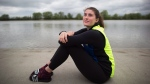 Former professional tennis player Rebecca Marino sits for a photograph after University of British Columbia rowing team practice in Richmond, B.C., on Friday April 15, 2016. (THE CANADIAN PRESS / Darryl Dyck)