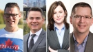 Four new faces on Edmonton's City Council: Councillors-elect Jon Dziadyk (Ward 3), Aaron Paquette (Ward 4), Sarah Hamilton (Ward 5), and Tim Cartmell (Ward 9) are seen in a composite image.