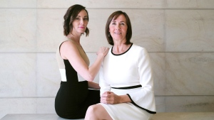 "Lorinda Stewart (right) and her daughter Amanda Lindhout are photographed in Toronto on Monday, October 16, 2017, as they promote Stewart's book ""One Day Closer."" The book is Stewart's account of her quest to bring her daughter, Amanda Lindhout, home after she was kidnapped in Somalia in 2008. THE CANADIAN PRESS/Chris Young"
