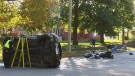 Police investigate a crash on Montrose Street North in Cambridge on Tuesday, Oct. 17, 2017.