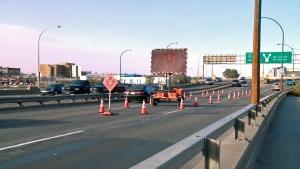 Construction pylons mark a closed lane on the Senator Sid Buckwold Bridge in Saskatoon.