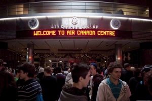 A crowd of people gathers inside the Air Canada Centre in Toronto, on Wednesday, Dec. 1, 2010.  (THE CANADIAN PRESS/Darren Calabrese)