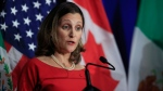 Canadian Minister of Foreign Affairs Chrystia Freeland, speaks during the conclusion of the fourth round of negotiations for a new North American Free Trade Agreement (NAFTA) in Washington, Tuesday, Oct. 17, 2017. (AP Photo/Manuel Balce Ceneta)
