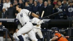 New York Yankees' Aaron Judge hits an RBI double during the eighth inning of Game 4 of baseball's American League Championship Series against the Houston Astros in New York on Tuesday, Oct. 17, 2017. (AP / Kathy Willens)
