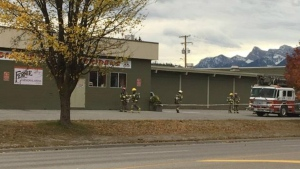 Fire crews seen outside Fernie Memorial Arena after an ammonia leak on Tues., Oct. 17, 2017.